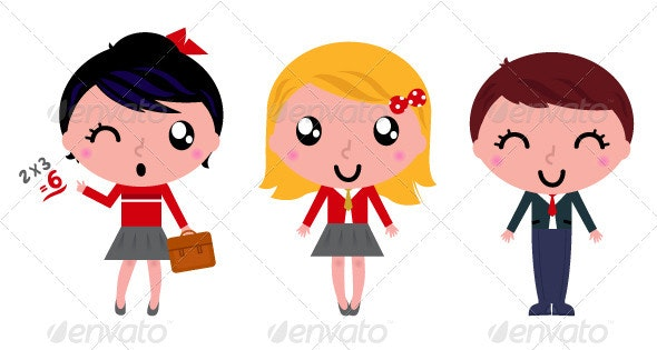 School kids set isolated on white - People Characters