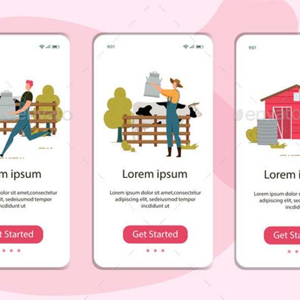 Mobile Pages Set with Farmer Collect Milk Design