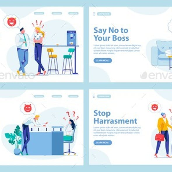 Harassment in Workplace Types. Four Landing Pages