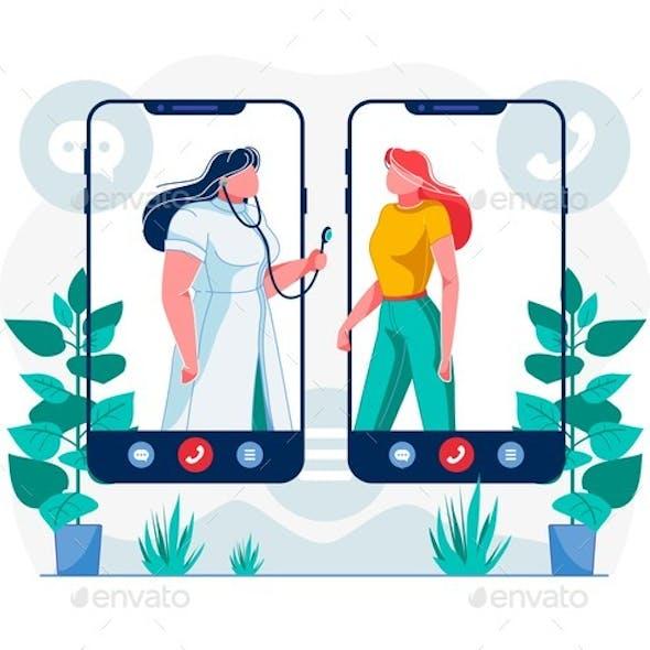 Telemedicine Mobile App Flat Vector Illustration