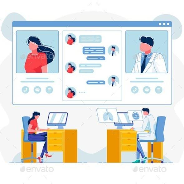 Telemedicine Consultation Flat Vector Illustration