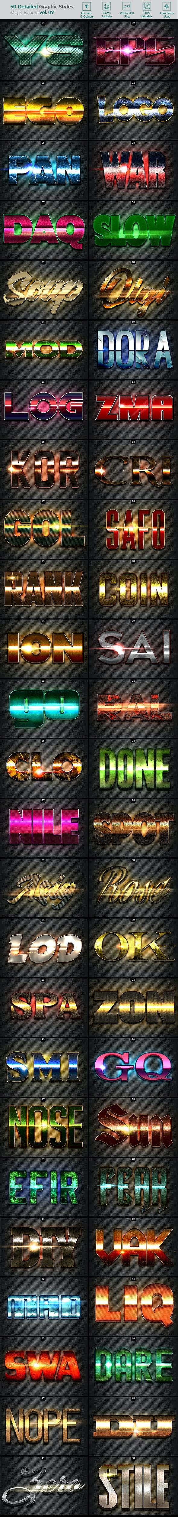 50 Text Effects - Bundle Vol. 09 - Styles Photoshop