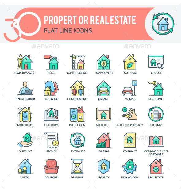 Property or  Real Estate Icons - Business Icons