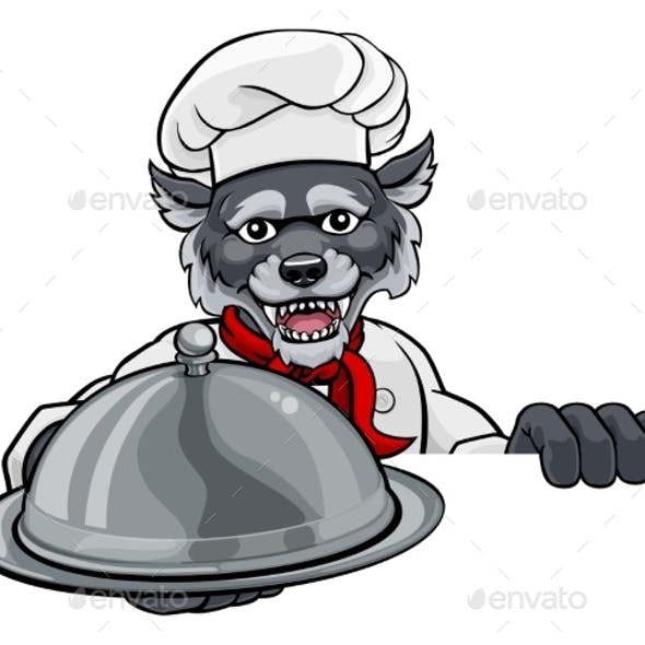 Wolf Chef Mascot Sign Cartoon Character