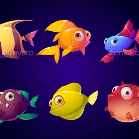 Sea Fish Tropical Colorful Aquarium Creatures Set