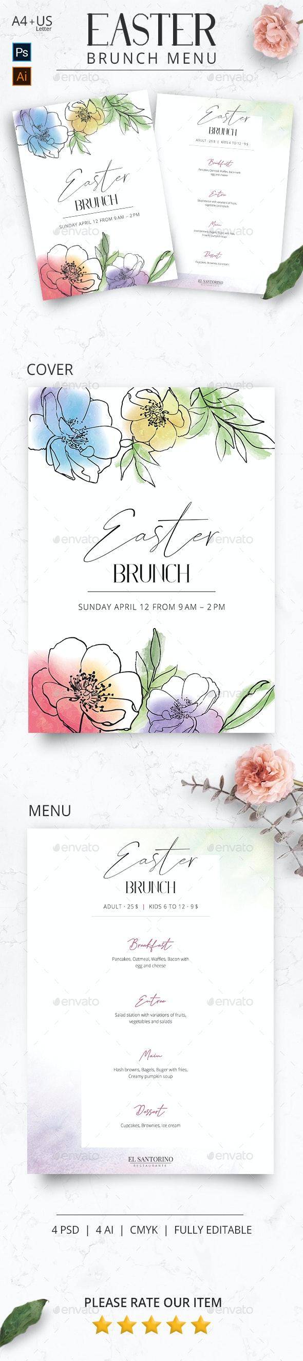 Easter Brunch Flower Menu - Food Menus Print Templates