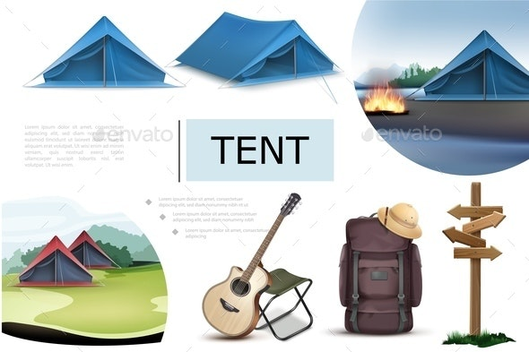 Realistic Camping Elements Composition - Travel Conceptual