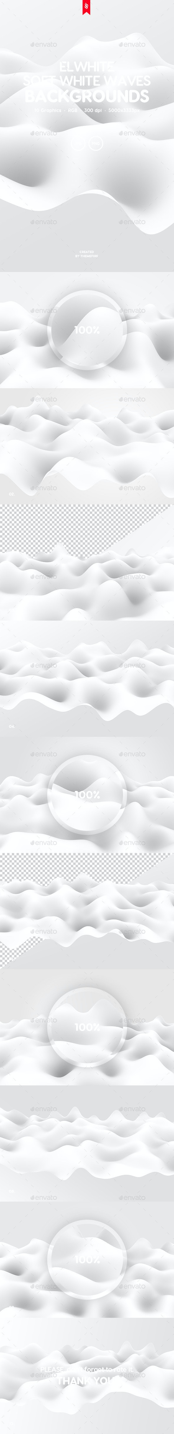 Elwhite - Soft White Waves Backgrounds Pack - 3D Backgrounds