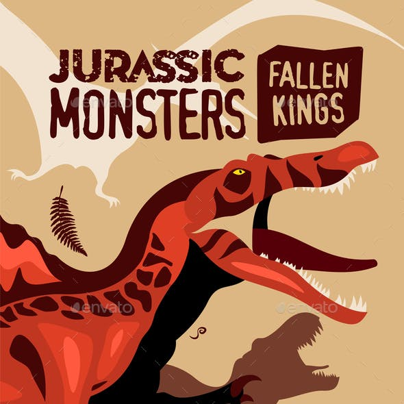 Jurassic Monsters Cartoon Poster