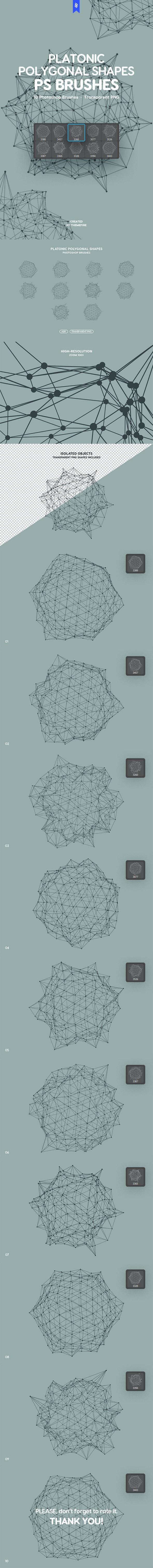 Platonic Polygonal Shapes Photoshop Brushes - Techno / Futuristic Brushes