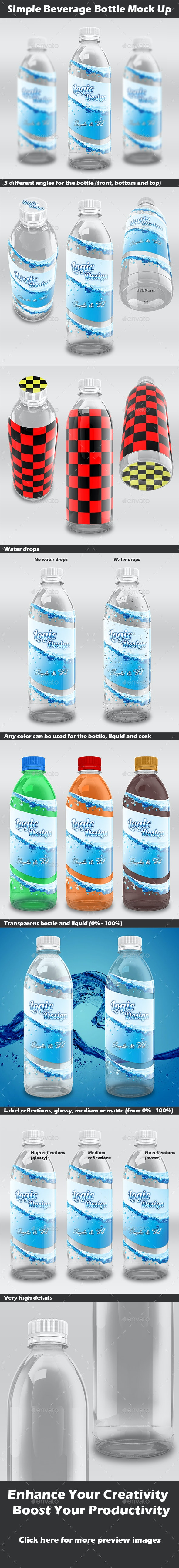 Simple Beverage Bottle Mock-Up - Food and Drink Packaging