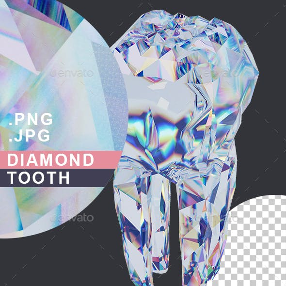 Diamond Tooth. Metaphor of Health and Strength of Teeth. Brilliant Tooth