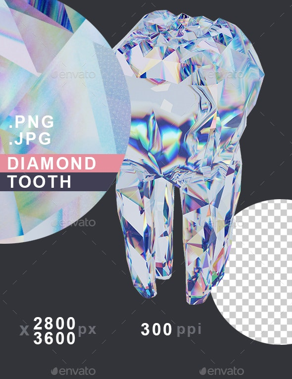 Diamond Tooth. Metaphor of Health and Strength of Teeth. Brilliant Tooth - Miscellaneous 3D Renders