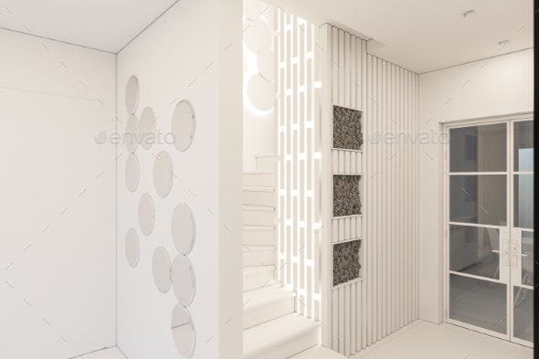 3d Render Interior Design of a Foyer in a Private - Miscellaneous 3D Renders