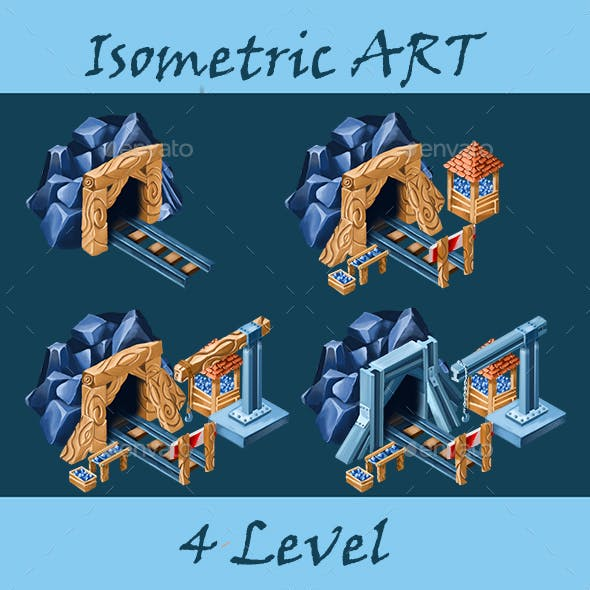 Mine 4 Levels for Isometric Game