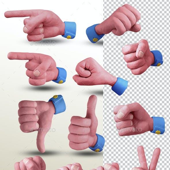24 Common Hand Gestures. Handmade with Plasticine