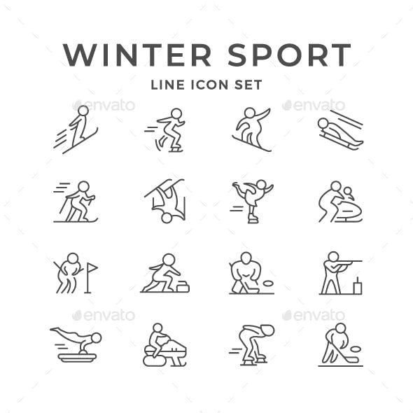 Set Line Icons of Winter Sport