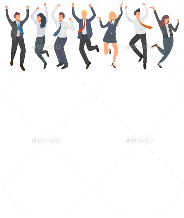 Happy Group of Office Workers Jumping - People Characters