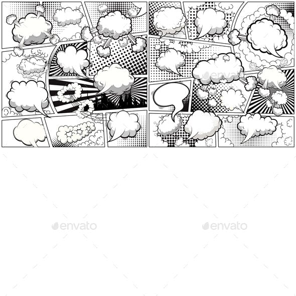 Comic Book Black and White Page Template