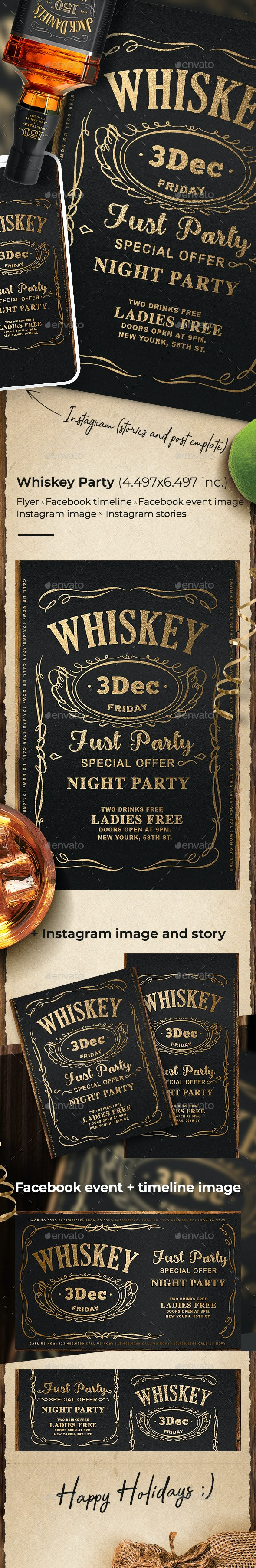 Whiskey Night Flyer Template - Events Flyers