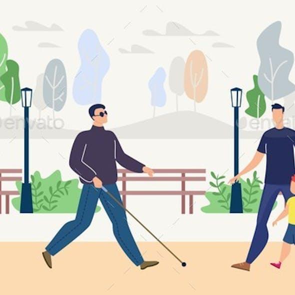 Blind Man Walking in Park Flat Vector Concept