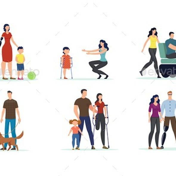 Adults and Children with Disabilities Vector Set
