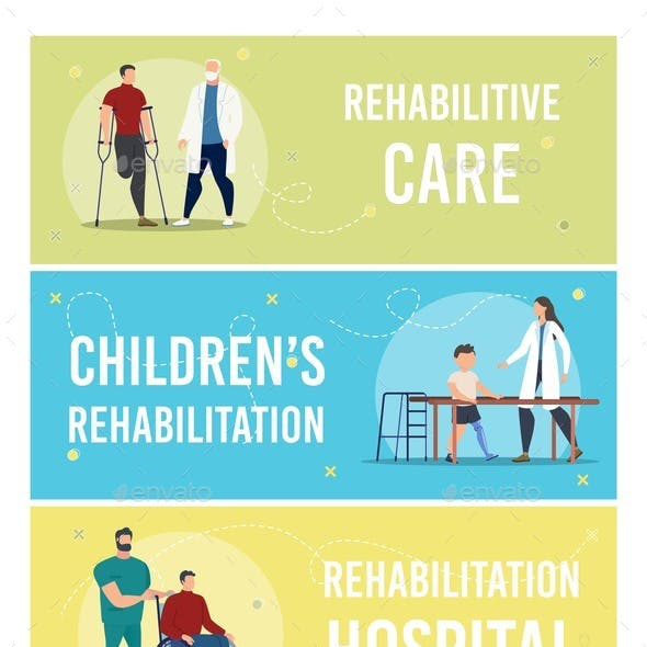 Medical Care on Disabled People Vector Banners Set