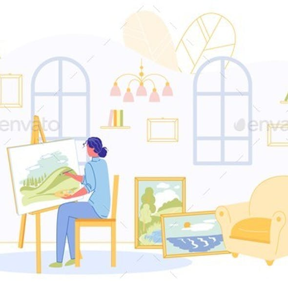 Creative Woman Draws Pictures at Home for Selling