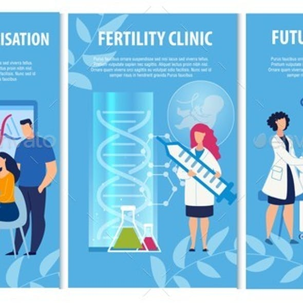 Advertising Info Banners Set for Fertility Clinic