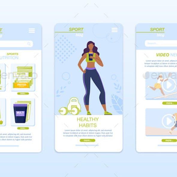 Healthy Food, Fitness, Sport, Diet Mobile App Set