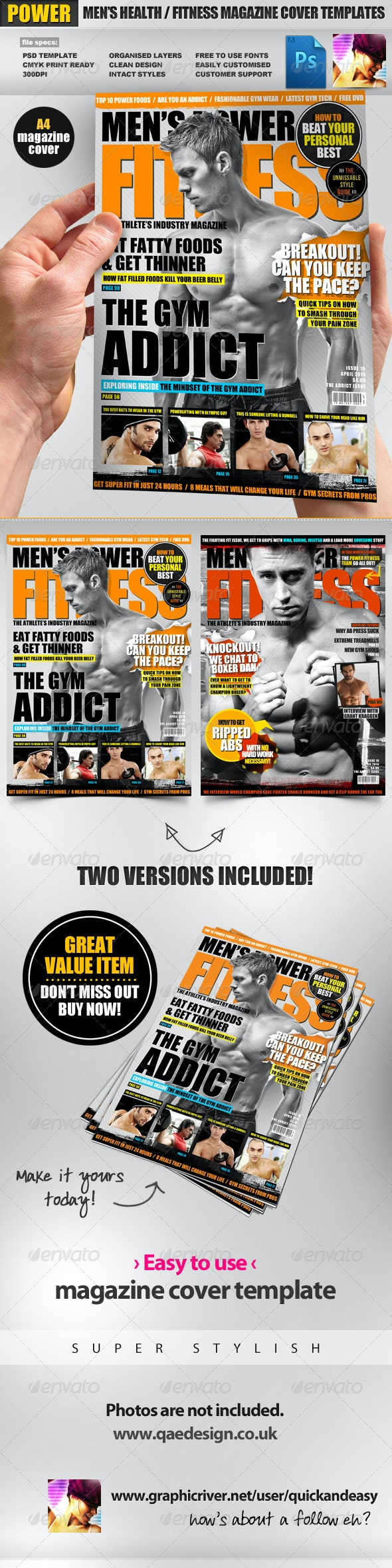 Men's Power Fitness Magazine Cover Template - Magazines Print Templates