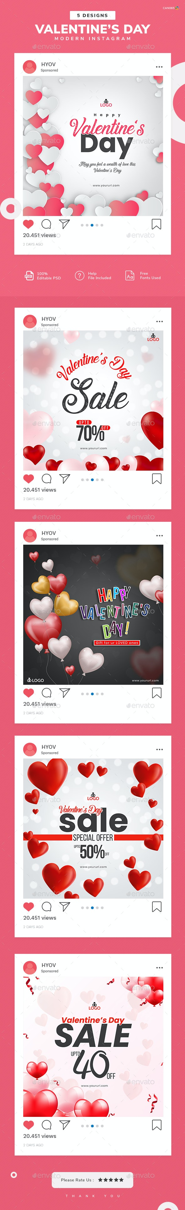 Valentine's Day Instagram Templates - 05 Designs - Miscellaneous Social Media