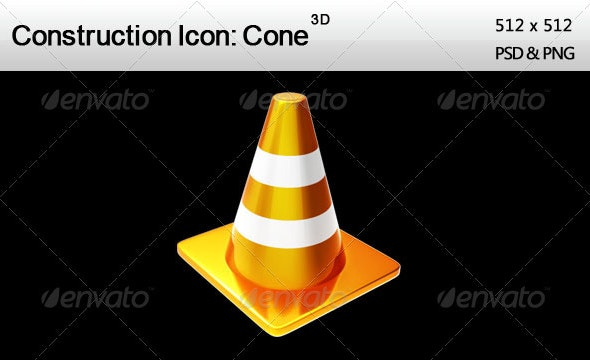 3D Construction Icon: Cone - Web Icons
