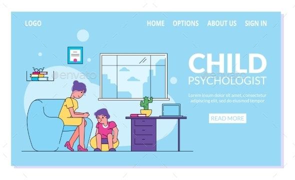 Child Psychologist Vector Illustration - Health/Medicine Conceptual