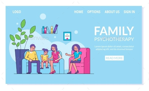 Family Psychotherapy Vector Illustration, Parents - Health/Medicine Conceptual