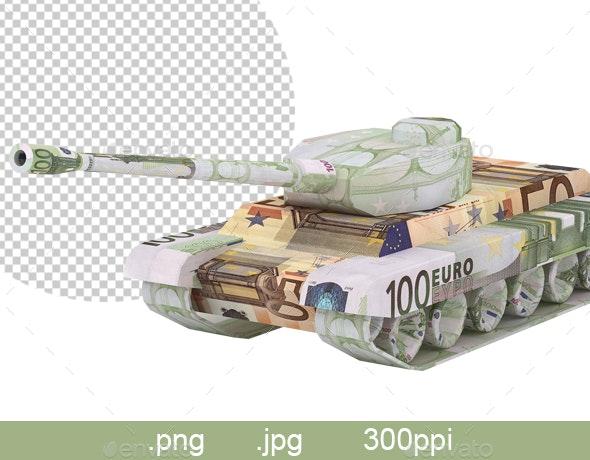 Euro Tank. Money Origami. Tank Gun Made from 100 Euro Bill. War Relation Concept - Miscellaneous 3D Renders