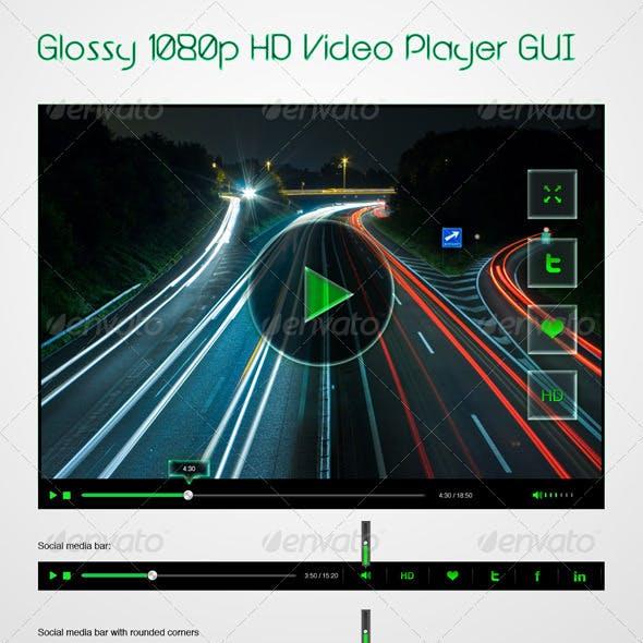 Glossy 1080p HD Video Player GUI