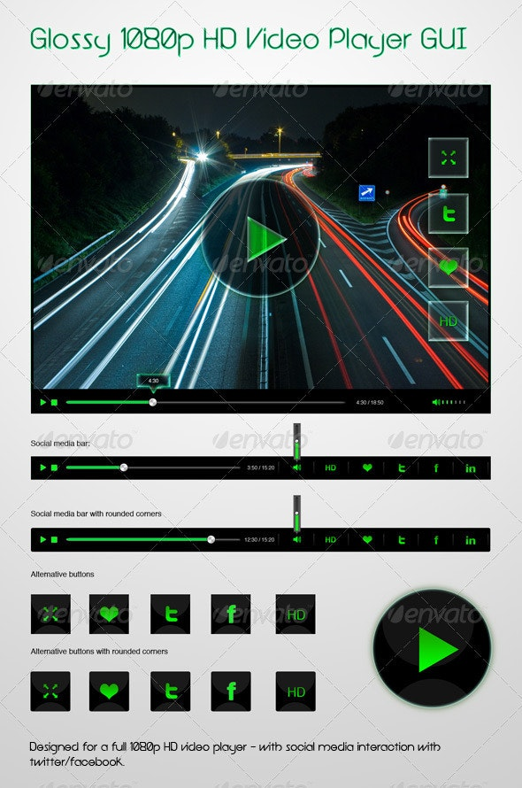 Glossy 1080p HD Video Player GUI - Miscellaneous Web Elements