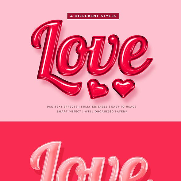 Valentine Day 3d Text Style Effects Mockup