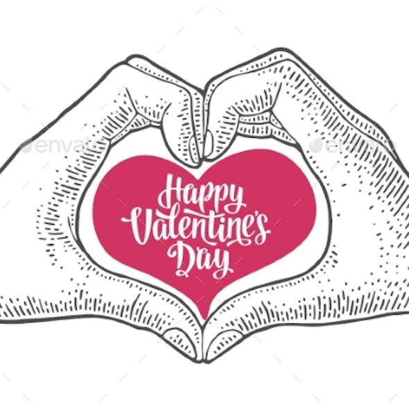 Heart with Rays in Open Female Human Palms Vector