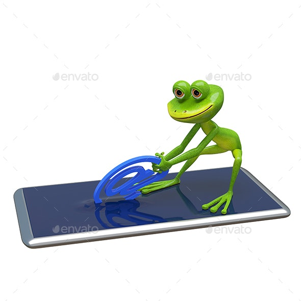 3D Illustration Frog Pulls Email Sign From Smartphone - Animals Illustrations