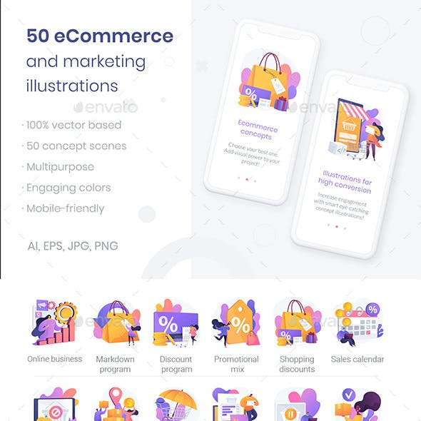 50 E-Commerce Vector Illustrations