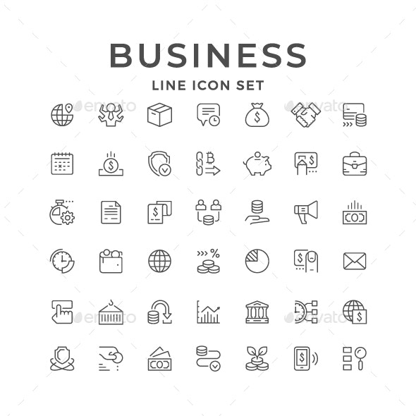 Set Line Icons of Business - Man-made objects Objects