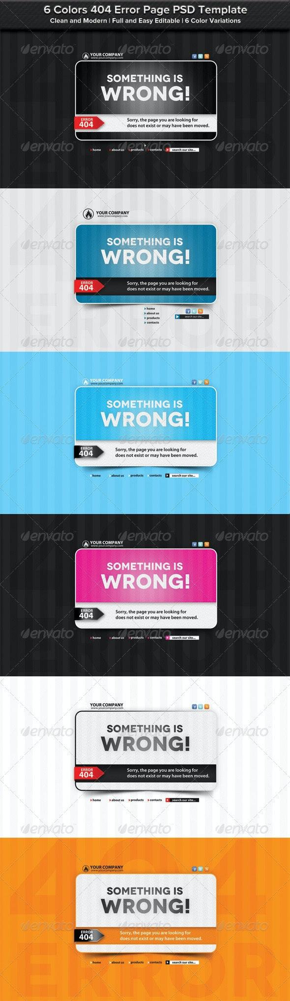 6 Colors 404 Error Page PSD Template - 404 Pages Web Elements