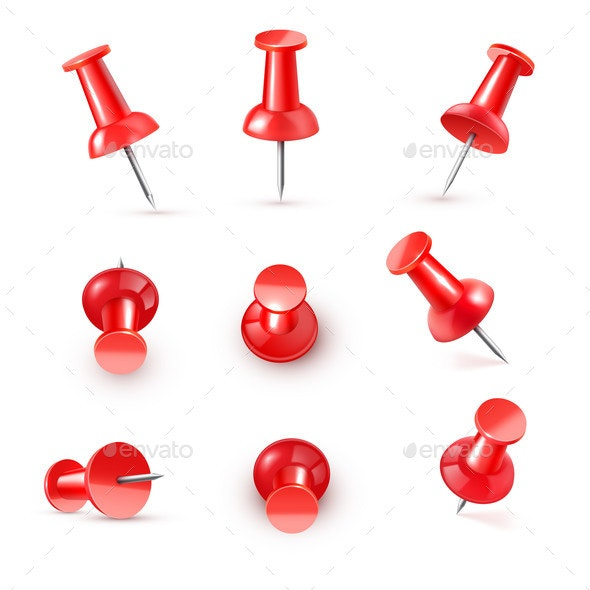 Realistic Vector Plastic Glossy Red Push Pin By