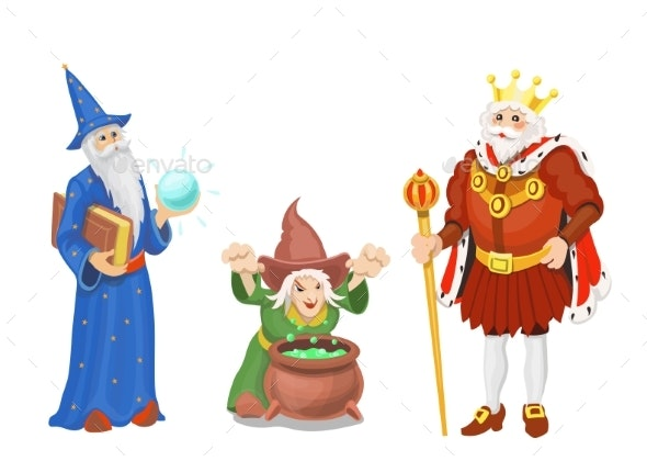Fairy Tale King in Crown, Wizard and Witch - People Characters