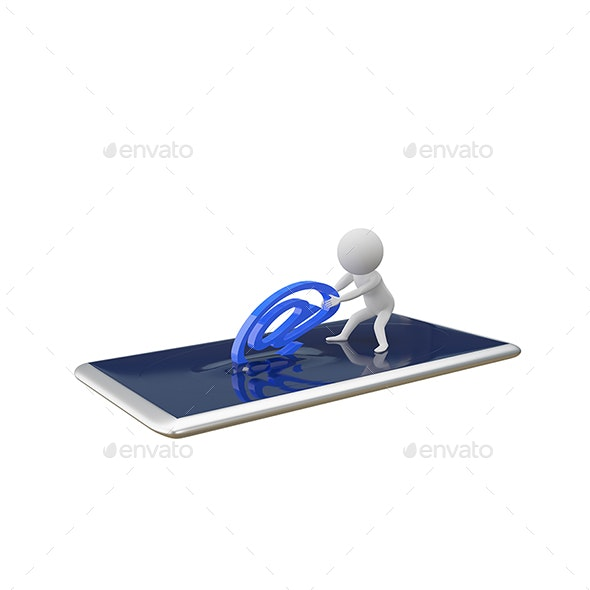 3D Illustration Abstract White Man Pulls Email Sign from Smartphone - Technology 3D Renders