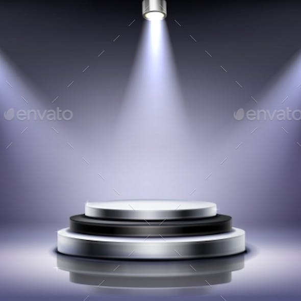 Round Podium with Spotlight Illumination Stage
