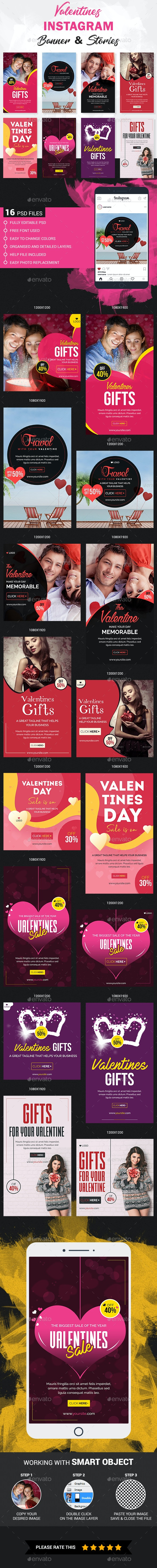 Valentines Instagram Story and Banner Templates - Social Media Web Elements