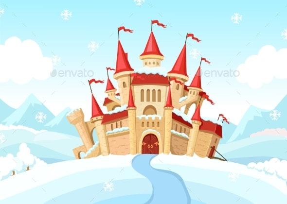 Medieval Castle on Winter Landscape Cartoon - Buildings Objects